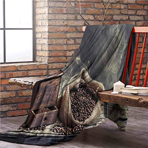 Coffee Fleece Blanket Throw Size,Bed Blanket Office Blanket Grinder Machine Cookie Cup Easy to Carry Super Soft