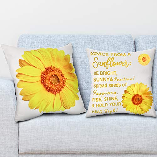 2 Pieces Sunflower Cushion Cover Advice From A Sunflower Prints Pillow Case Decorative Throw Pillow Cover for Living Room Bedroom Sofa Chair, 45 x 45 cm