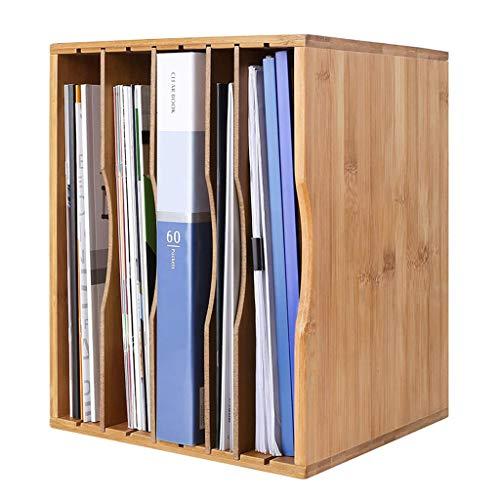 WFFH Schreibtisch Document Organizer, Bambus Adjustable-Desktop File Sorter A4-Papierspeicher-Rack mit 4 Ausziehböden, einfach zu bedienen
