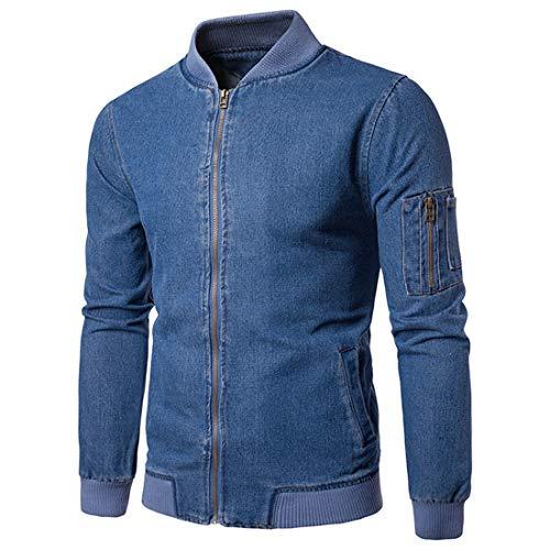 PPPPA Mens Jackets Bomber Lightweight Coats Long Sleeve Stand Collar Casual Jacket Outwear with Zipper Pockets Men's Lightweight Slim Fit Flight Bomber Jacket Casual Outwear Denim Blue