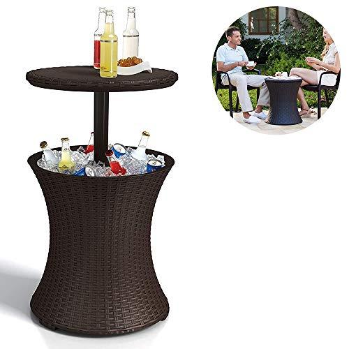 LANilianhuqa Rattan estilo al aire libre fresco bar hielo refrigerador mesa jardín muebles - marrón