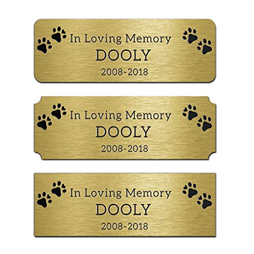 JUOOE Solid Brass Golden Name Plate Deep Laser Engraving Tag 1'x 3'inch Custom Personalized Dog ID Tag Nameplate for Pet Home Desk Plate
