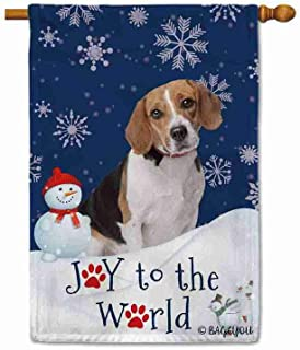 BAGEYOU Happy Winter Holiday Snow with My Love Dog Beagle Decorative House Flag Joy to The World Snowfalke Paws Snowman Ho...
