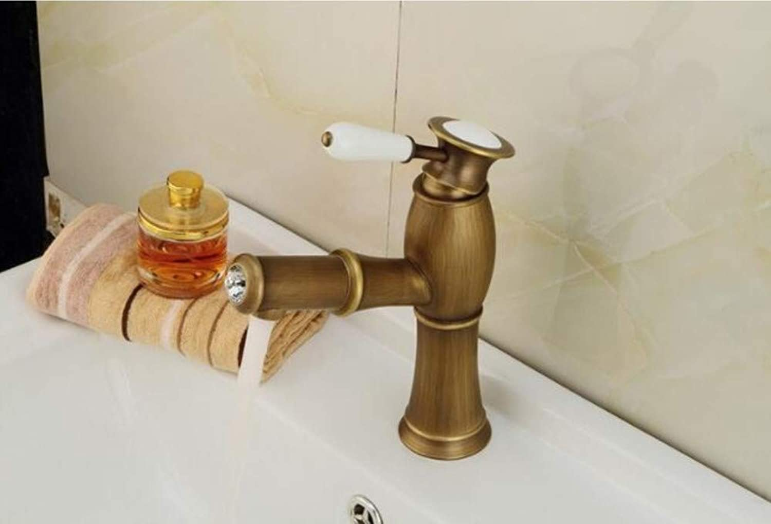 Xiehao New Antique golden Brass Bathroom & Kitchen Pull Out Faucets Hot and Cold Water Basin Taps Single Handle Sink Tap Faucet
