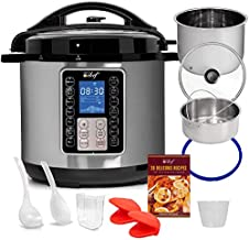 Deco Chef 8 QT 10-in-1 Pressure Cooker Instant Rice, Saute, Slow Cook, Yogurt, Meats, Deserts, Soups, Stews Includes Recipe Book, Tempered Glass Lid, Mitts, Grill Rack, and Steaming Basket, Stainless Steel Finish