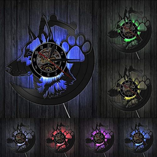 ZZLLL Reloj de Pared de Pastor alemán, decoración del hogar, Reloj de Vinilo de Raza de Perro, Reloj Vintage, Reloj de Pared con Nombre de Perro Personalizado, Regalo para Amantes - con LED