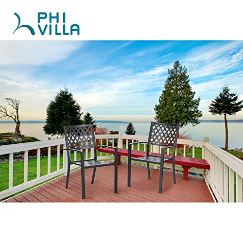 PHI VILLA 300lbs Wrought Iron Outdoor Patio Bistro Chairs with Armrest for Garden,Backyard - 2 Pack