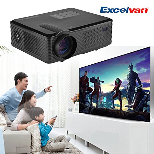 Excelvan® proyector 2400Lúmenes HD LED/LCD para Home Cinema Theater PC DVD DTV...