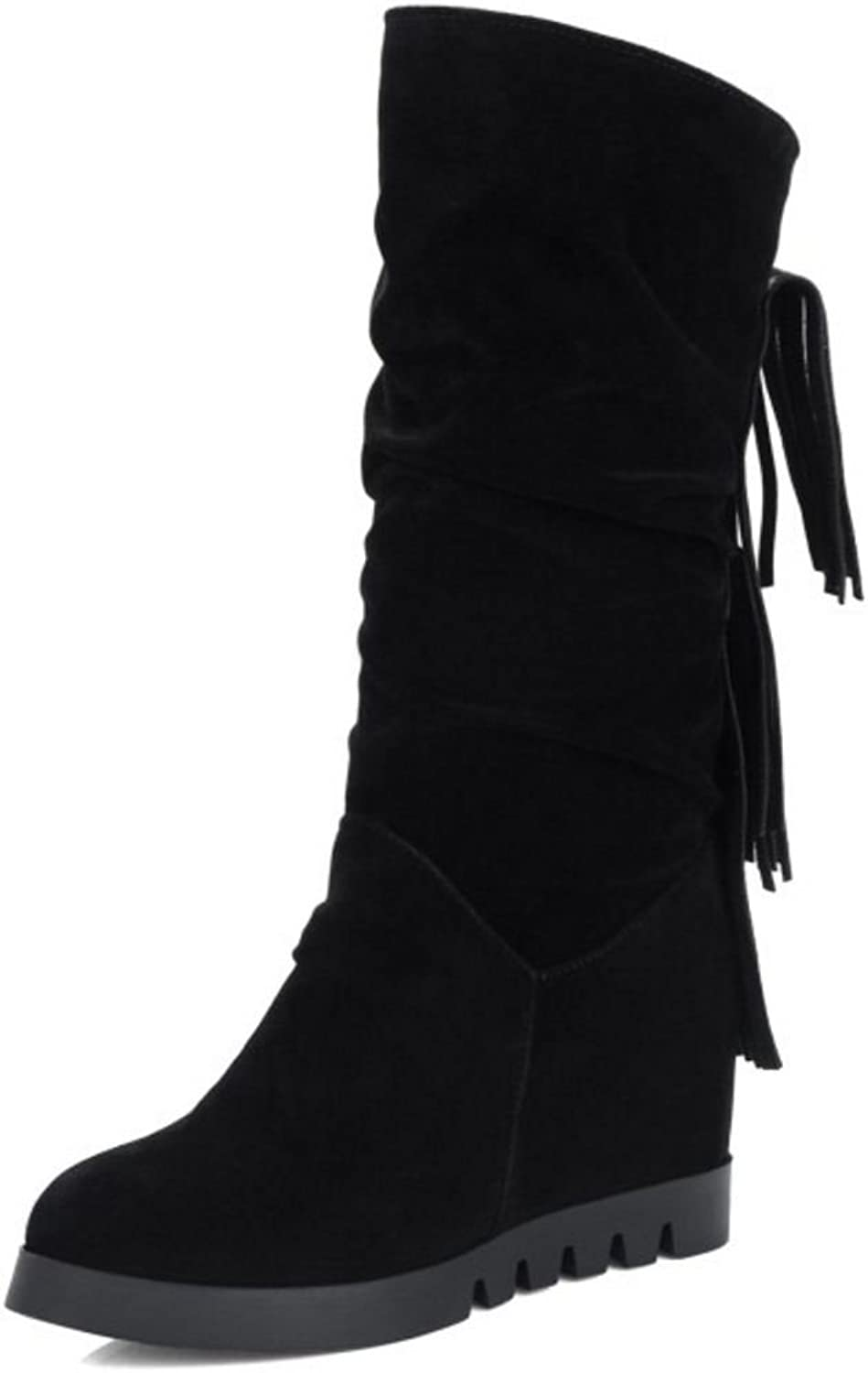 AicciAizzi Women Casual Fringe Boots Round Toe Slip On