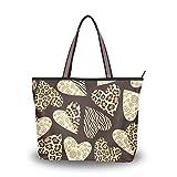 Ahomy Große Strandtasche Valentinstag Herz Leopardenmuster Zebra Reisetasche Urlaub Shopping...