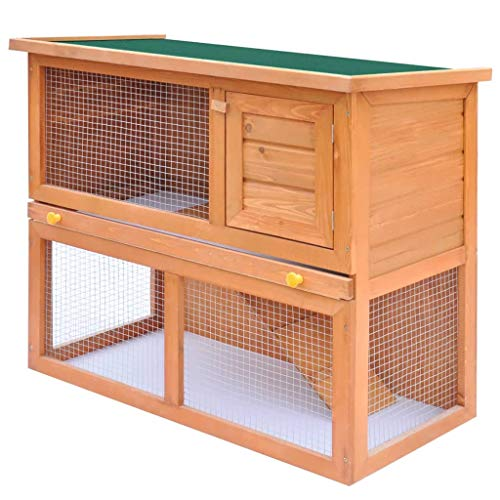 vidaXL Conejera de Exterior Casa para Animal Pequeño Jaula de Mascota de Madera - 1 Puerta