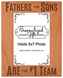 ThisWear Best Dad Ever Gifts Fathers and Sons #1 Team Natural Wood Engraved 5x7 Portrait Picture Frame Wood