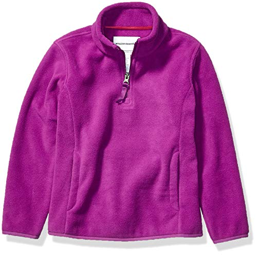 Amazon Essentials Girl's Quarter-Zip Polar Fleece Jacket, Plum Purple, Large