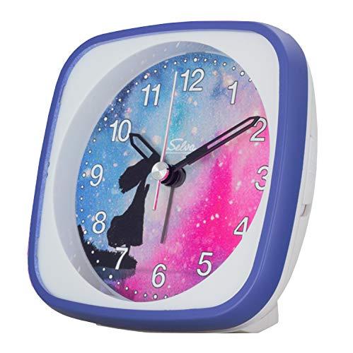 SELVA Despertador infantil con diseño de cielo estrellado silencioso y silencioso para niños, esfera de colores con luz y repetición de alarma. Dimensiones: 95 x 95 x 45 mm (vista estrellada)