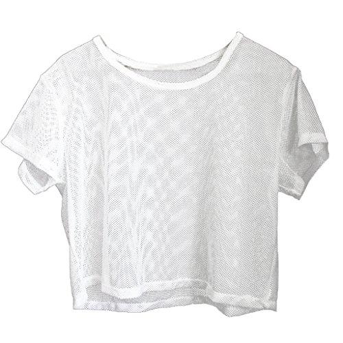 Baoblaze Damen Mesh Netz Shirt Transparent Sport T-Shirt Fitness Gym Yoga Tank Top - Weiß, S