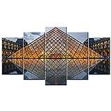 YOUQIANREN Cuadro en Lienzo HD Impresión de 5 Piezas Louvre Francia de Pinturas en Lienzo Imagen Gráfica Cartel Decorativo Mural Art Room Decoración Salon Enmarcado 150x80cm