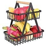 Cestino Frutta 2 Piani in Metallo Fruttiere per Frutta, Verdura, Pane, Torta ,Cosmetici,Asciugamani Nero