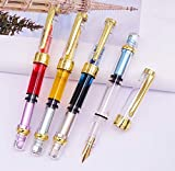 Piston Fountain Pen Wing Sung 3008A Gold Plated Fine Nib, Transparent Gold Trim 4 Colors Set