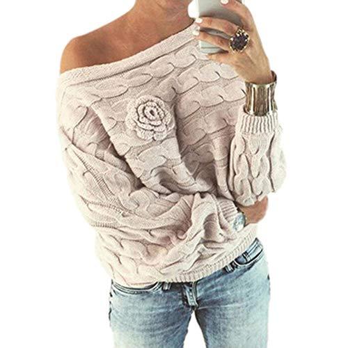 TWIFER Gestreifter Pullover mit Blumenmuster für Frauen gestrickter Off Shoulder Langarmshirt