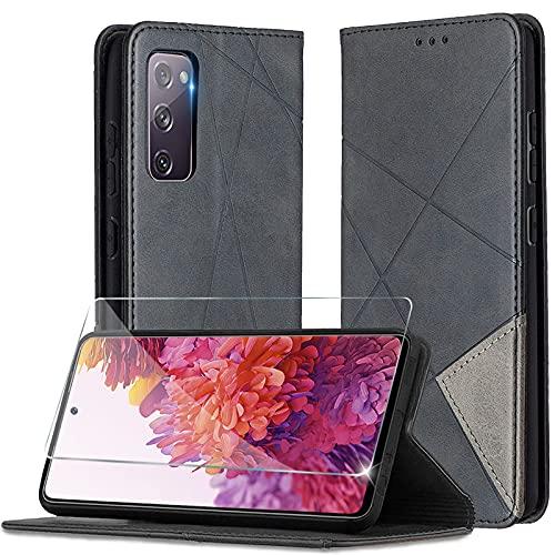 Handyhülle für Samsung Galaxy S20 FE 5G Hülle mit Panzerglas Klappbar Schutzhülle Leder Tasche Schutzfolie Galaxy S20 FE Hülle mit [Kartenfach] [Standfunktion] [Magnetisch] für Samsung S20 FE Cover