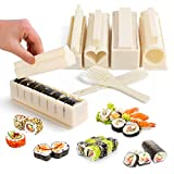 Sushi Making Kit, Inmorven Deluxe All In One Sushi Maker Set for Beginners, 10 Pieces Plastic Sushi Maker Tool, plate set with 8 Sushi Rice Roll Mold Shapes, Fork, Spatula for Kitchen Home DIY Sushi