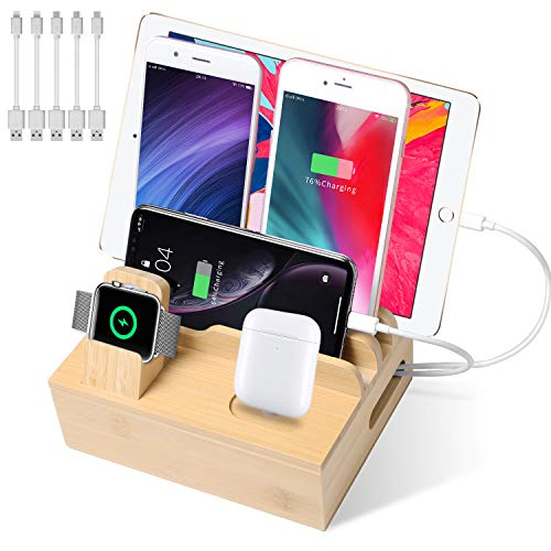 Bamboo Charging Station for Multiple Devices, USB Charging Station Dock, Fast Desk Wood Charging Docking Station for Universal Cell Phone, Tablet, Apple Watch, Airpods(5 Pack Cables Included)