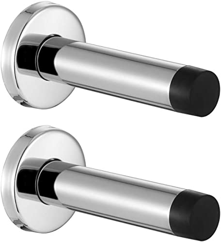 JQK Door Stopper Chrome, 304 Stainless Steel Sound Dampening Door Stop Bumper Wall Protetor 2 Pack, Polished Chrome, ...