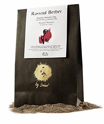 Rhassoul Argile Berber 200 Gr, les bienfaits de 14 plantes sauvages en Poudre ulra ventilée 100% naturelle pour un masque visage et cheveux – Masque a