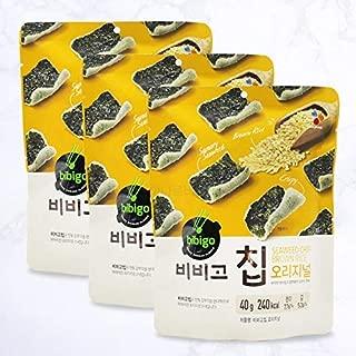 Bibigo New Crispy Seaweed Chip 비비고칩 김스낵 1.40oz, 3 Pack (Brown Rice)