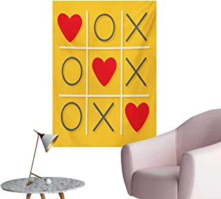 Anzhutwelve Love Home Decor Wall Tic-Tac-Toe Game with XOXO Design Let Me Kiss You Valentines Romantic IllustrationYellow Red W32 xL36 Custom Poster