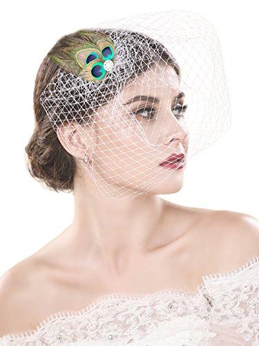 handcess Hochzeit bridcage Schleier mit Kamm Pfauenfeder Zubehör kurz Rouge Schleier Set Fascinator Netzgewebe für Brides