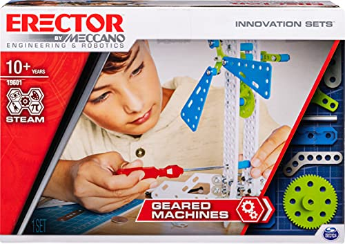 Meccano Erector, Geared Machines S.T.E.A.M. Building Kit with Moving Parts, for Ages 10 and Up, Multicolor