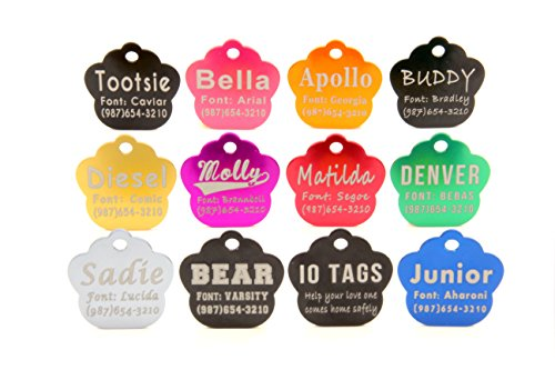 io tags Laser Etched Large Paw Print Pet ID Tag Engraved Dog & Cat Personalized Aluminum