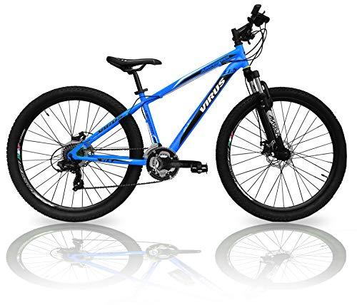 CINZIA Bicicletta MTB 27.5 Virus Uomo 21V Mountain Bike con Freni a Disco (Azzurro)