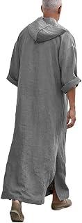 Fueri Mens Linen Hooded Robes Ethic Kaftan Thobe Saudi Arabic Dresses Muslim Dishdash Summer Long Shirts