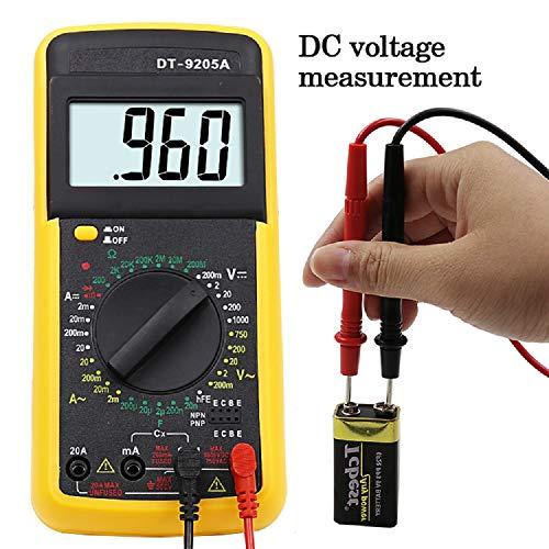 Rongda DT9205A Profesional Multímetro Digital Profesional Amperímetro De Mano Eléctrico Voltímetro Resistencia Capacitancia hFE Probador AC DC LCD(Amarillo)