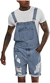 HaiDean Dungarees Overall Jumpsuit Shorts Men's Denim Jeans Dungarees Modern Casual Short Dungarees Men Shorts Lightwash B...