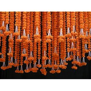 Krati Exports 5 PC – 6 feet Orange Marigold Garland |Indian/American Wedding Party Mantle Decoration, Faux Garlands Wedding Garland, Diwali Decoration, Spring Bush Floral!