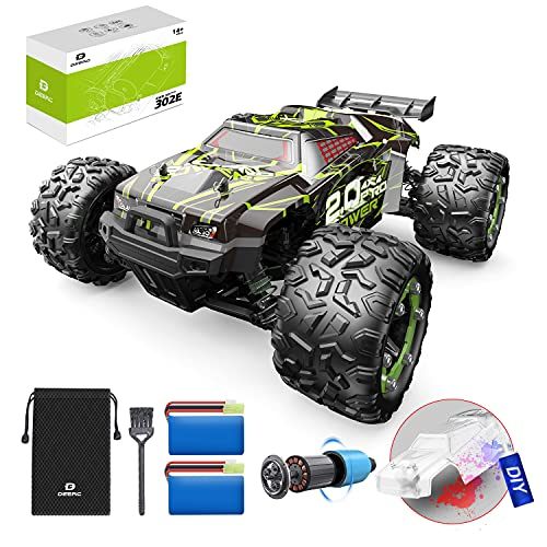 DEERC Brushless 302E RC Cars, 60KM/H High Speed Remote Control Car for Adults, 4WD 1:18 Scale All Terrain Off Road Monster Truck with DIY Extra Shell, 2 Batteries 40 Min Play Car Toy for Boys& Girls