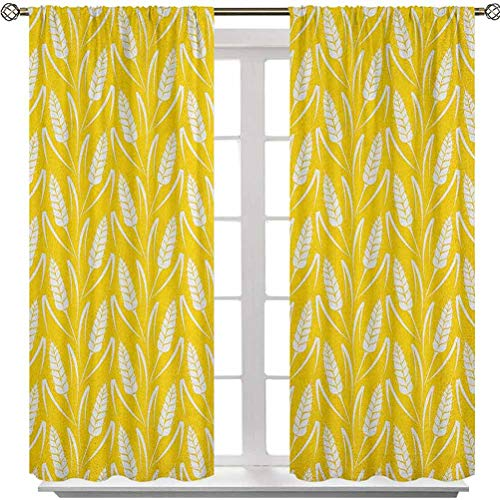 Rod Pocket Curtains, Growing Rye Field Silhouettes of Wheat Ears Whole Grain Natural, W36 x L54 Room Darkening Blackout Curtains for Nursery(2 Panels), Earth Yellow White