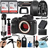 Sony Alpha a7 III Full Frame Mirrorless Digital Camera (Body Only) 24MP with 2 Pack SanDisk 32GB Memory Card, Backpack, Tripod and A-Cell Accessory Bundle (Black)