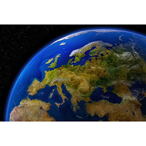 GREAT ART® Fototapete – Europa am Tag – Wandbild Dekoration Kontinente Planet Erde Galaxy World Map Daylight Earth Universum Cosmos Europakarte Foto-Tapete Wandtapete (210 x 140cm)