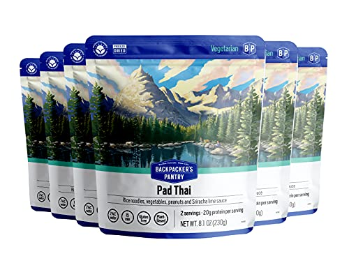 Backpacker's Pantry Pad Thai | Freeze Dried Backpacking & Camping Food | Emergency Food | 40 Grams of Protein, Vegan, Gluten Free | 1 Count