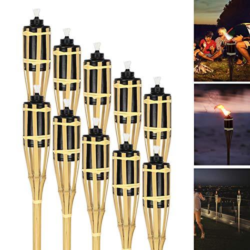 Hengda 10er Set Gartenfackeln mit Docht, Ölfackeln aus Bambus,Höhe: 90 cm, natur, stimmungsvolle Fackeln für außen, Für Outdoor-Partys