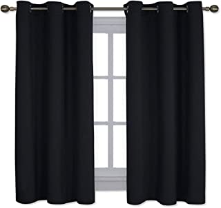 NICETOWN Pitch Black Solid Thermal Insulated Grommet Blackout Curtains/Drapes for Bedroom Window (2 Panels,42 inches Wide by 63 inches Long,Black)