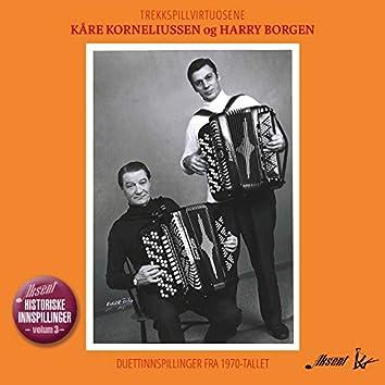Trekkspillvirtuosene Kåre Korneliussen og Harry Borgen. Duettinnspillinger fra 1970-tallet.