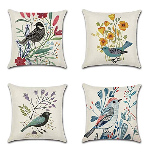 JOTOM Cotton Linen Throw Cushion Pillow Covers Square Pillowcase Home Decorative for Office Sofa Bed Cushion Cover Set of 4,45x45cm (Birds and Flowers)