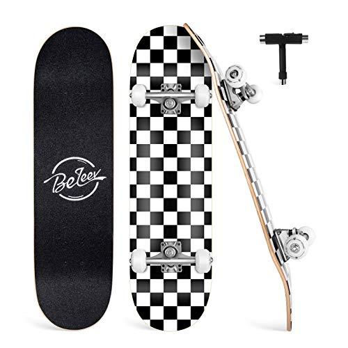 BELEEV Skateboard Erwachsene 31x8 Zoll Komplette Cruiser Skateboard für Kinder Jugendliche Anfänger, 7-Lagiger Kanadischer Ahorn Double Kick Deck Concave mit All-in-one Skate T-Tool(Weiß)