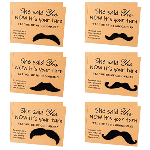 VERSRH 12PCS Groomsmen Proposal Cards, Set of 6 Styles Mustaches, Humorous Groomsmen Proposal Gifts for Wedding, Kraft Paper Confession Card, Retro Style Proposal Cards for Groomsmen, Best Man, Suitor