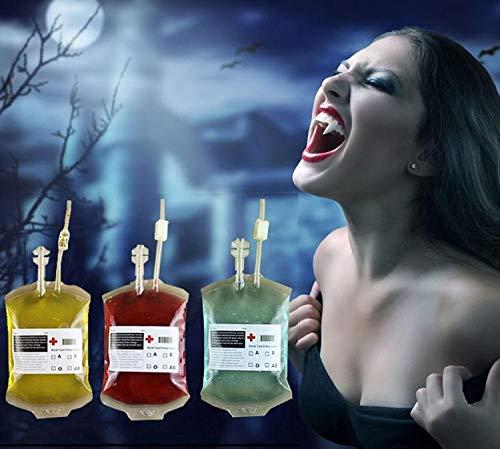 Bolsa de bebida de sangre de Halloween, 5 paquetes Contenedor de bebida de energía reutilizable Vasos de jugo de fruta Decoración para suministros de fiesta temática Disfraces Enfermeras Favores Acces